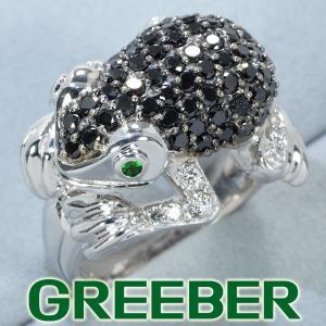 ブラック&クリアダイヤ ダイヤモンド 1.30ct/0.15ct ガーネット カエル リング 指輪 K18WG GENJ greeber01