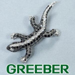 ブラック&クリアダイヤ ダイヤモンド 1.90ct トカゲ ブローチ K18WG GENJ|greeber01