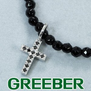 SJX ネックレス ブラックダイヤ ダイヤモンド 0.07ct オニキス クロス K18WG/SV925 箱 BLJ/GENJ|greeber01