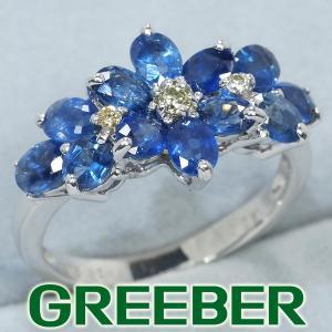 サファイア 2.10ct ダイヤ ダイヤモンド 0.06ct フラワー リング 指輪 K18WG GENJ|greeber01