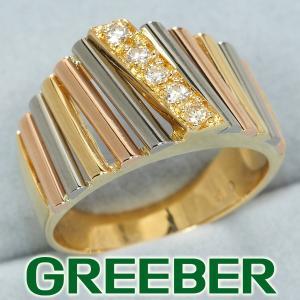 ダイヤ ダイヤモンド 0.13ct スリーカラー リング 指輪 K18YG/WG/PG GENJ|greeber01