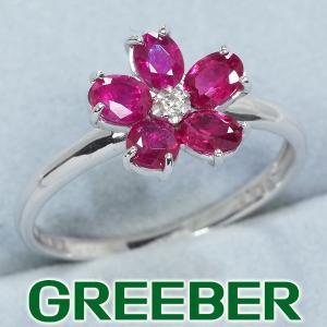 ルビー ダイヤ ダイヤモンド 0.015ct フラワー リング 指輪 K18WG GENJ|greeber01