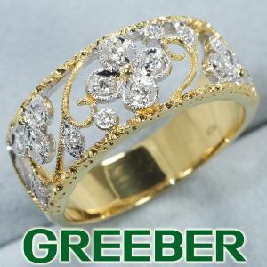 ダイヤ ダイヤモンド リング 指輪 彫金 透かし フラワー K18WG/YG GENJ|greeber01