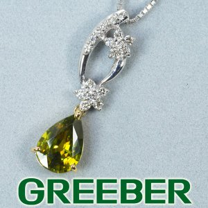 スフェーン 1.65ct ダイヤ ダイヤモンド 0.19ct ネックレス K18WG/YG GENJ|greeber01
