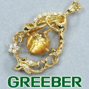 ルチルクォーツ 1.93ct ダイヤ ダイヤモンド 0.12ct ペンダントトップ K18YG GENJ|greeber01