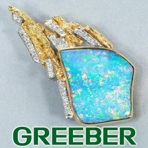 ダブレットオパール 23.26ct ダイヤ ダイヤモンド 0.43ct ブローチ兼ペンダントトップ K18YG/Pt900/プラチナ  GENJ|greeber01