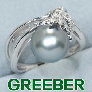 QVC リング 指輪 黒蝶真珠 パール ダイヤ ダイヤモンド 0.04ct K18WG 保証書 BLJ/GENJ|greeber01