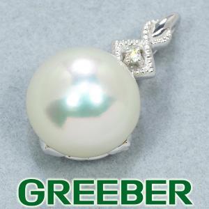 QVC ペンダントトップ 白蝶真珠 パール ダイヤ ダイヤモンド 0.01ct K18WG 保証書 BLJ/GENJ|greeber01