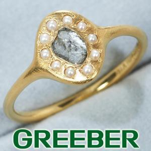 ラフカットダイヤ ダイヤモンド パール クラシカルデザイン リング 指輪 K18YG GENJ|greeber01