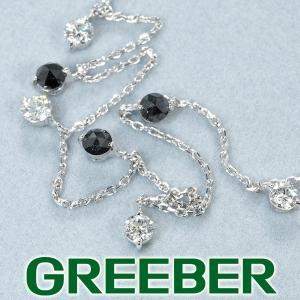 ブラック&クリアダイヤ ダイヤモンド 0.43ct/0.45ct ネックレス K18WG GENJ|greeber01