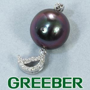 黒蝶真珠 バロックパール ダイヤ ダイヤモンド 0.12ct ペンダントトップ K18WG GENJ|greeber01