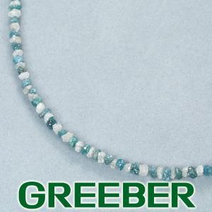原石ブルー&クリアダイヤ ダイヤモンド 15.00ct ネックレス K18WG GENJ|greeber01