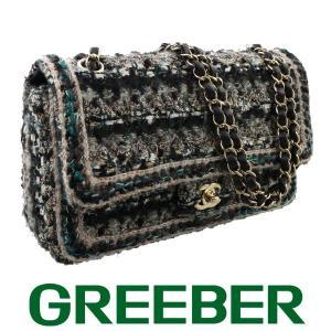 シャネル チェーンショルダーバッグ Wフラップ 二重蓋 ツイード グリーン×黒系×ゴールド 26番台 BSK|greeber01