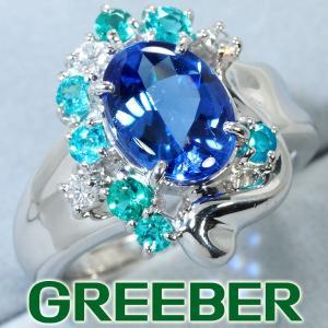 タンザナイト 2.34ct パライバトルマリン 0.46ct ダイヤ ダイヤモンド 0.18ct リング 指輪 Pt900/プラチナ 鑑別書 GENJ|greeber01