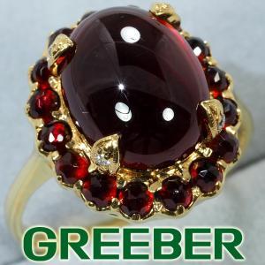 碌山 リング 指輪 ガーネット 5.20ct ダイヤ ダイヤモンド 13号 K18YG BLJ/GENJ greeber01