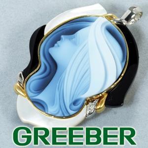 エルヴィンポーリー ブローチ兼ペンダントトップ  ダイヤ ダイヤモンド 0.01ct カメオ  K18YG/Pt900/プラチナ GENJ|greeber01