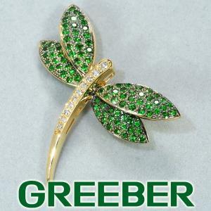 グリーンガーネット 1.46ct ダイヤ ダイヤモンド 0.17ct ブローチ トンボ K18YG ソーティング GENJ|greeber01