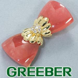 レ・エッセンシャル ブローチ ロードクロサイト ダイヤ ダイヤモンド 0.25ct K18YG BLJ/GENJ|greeber01