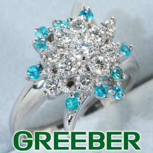 ダイヤ ダイヤモンド 0.55ct パライバトルマリン 0.23ct リング 指輪 Pt900/プラチナ GENJ|greeber01