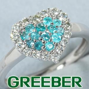 パライバトルマリン 0.17ct ダイヤ ダイヤモンド 0.27ct ハート パヴェ リング 指輪 K18WG GENJ|greeber01