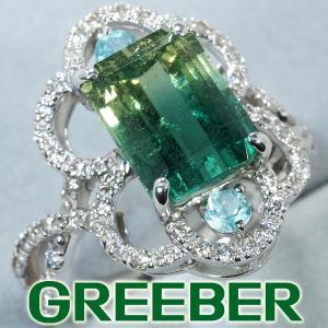 バイカラートルマリン 5.09ct ダイヤ ダイヤモンド 0.63ct リング 指輪 K18WG 鑑別書 GENJ|greeber01