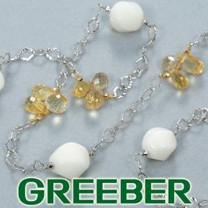 珊瑚 サンゴ シトリン ブリオレットカット ロング ネックレス K18WG/YG GENJ|greeber01