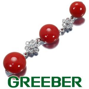 赤珊瑚 サンゴ ダイヤ ダイヤモンド ペンダントトップ K18WG GENJ|greeber01