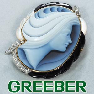 エルヴィンポーリー ブローチ兼ペンダントトップ ダイヤ ダイヤモンド 0.37ct メノウカメオ K18YG/Pt900/プラチナ GENJ|greeber01