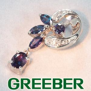 アレキサンドライト 1.01ct ダイヤ ダイヤモンド ペンダントトップ K18WG GENJ|greeber01