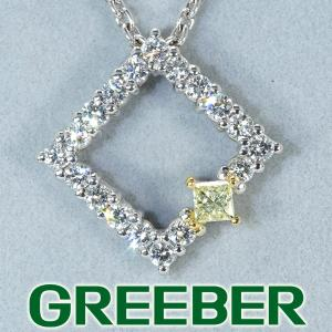 平和堂 ネックレス ダイヤ ダイヤモンド 0.62ct オープンスクウェア Pt950/プラチナ/K18YG BLJ/GENJ|greeber01