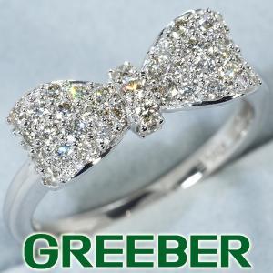 QVC リング 指輪 ダイヤ ダイヤモンド リボン K18WG 保証書 BLJ/GENJ|greeber01
