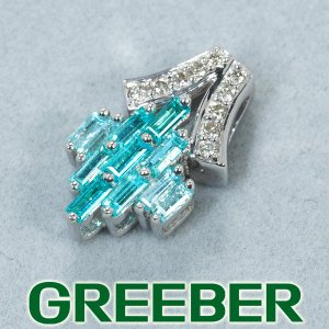 パライバトルマリン 0.20ct ダイヤ ダイヤモンド ペンダントトップ K18WG ソーティング GENJ|greeber01