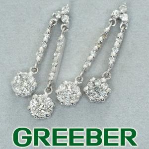 揺れる ダイヤ ダイヤモンド 0.43ct/0.43ct ピアス K18WG/K14WG GENJ greeber01