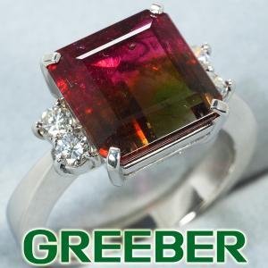 バイカラートルマリン 4.54ct ダイヤ ダイヤモンド 0.27ct リング 指輪 Pt900/プラチナ GENJ|greeber01
