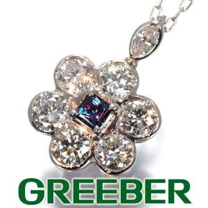 アレキサンドライト 0.17ct ダイヤ ダイヤモンド 1.15ct フラワー ネックレス Pt900/Pt850/プラチナ 鑑別書 GENJ|greeber01
