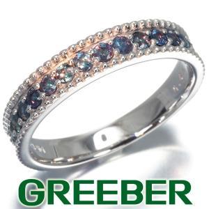 アレキサンドライト 0.64ct ハーフエタニティ リング 指輪 K18WG GENJ|greeber01