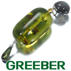 琥珀 コハク  トルマリン サファイア ダイヤ ダイヤモンド ペンダントトップ K18WG ソーティング GENJ|greeber01