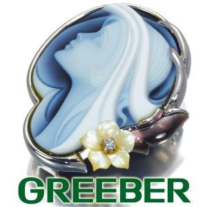 エルヴィンポーリー ブローチ兼ペンダントトップ ダイヤ ダイヤモンド 0.02ct シェル メノウカメオ K18WG GENJ|greeber01
