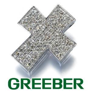ダイヤ ダイヤモンド クロス パヴェ ペンダントトップ K18WG GENJ 特別値下げ品|greeber01