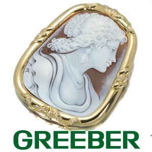 カルロパルラーティ ブローチ兼ペンダントトップ ダイヤ ダイヤモンド 0.24ct シェルカメオ K18YG BLJ/GENJ|greeber01