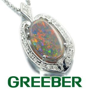 ブラックオパール 2.66ct ダイヤ ダイヤモンド 0.21ct ネックレス K18WG ソーティング GENJ greeber01
