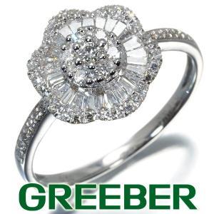 3種カット ダイヤ ダイヤモンド 0.50ct フラワー リング 指輪 K18WG GENJ greeber01