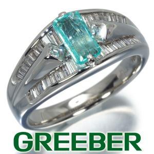 パライバトルマリン 0.53ct ダイヤ ダイヤモンド 0.68ct スクエア テーパーバケットカット リング 指輪 Pt900/プラチナ GENJ|greeber01