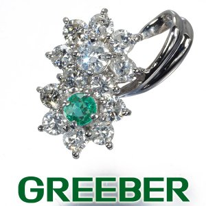 パライバトルマリン ダイヤ ダイヤモンド 1ct フラワー ペンダントトップ Pt900/プラチナ GENJ|greeber01