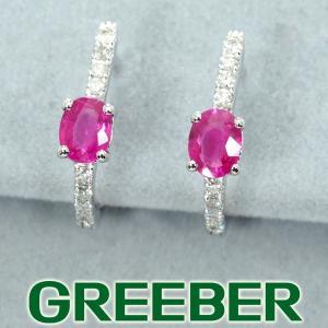 ルビー 0.80ct ダイヤ ダイヤモンド フープ ピアス K18WG ソーティング GENJ|greeber01