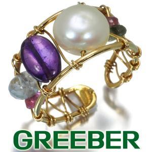 トウス リング 指輪 淡水真珠 アメジスト トルマリン アクアマリン ガラバト 11号 K18YG BLJ/GENJ|greeber01