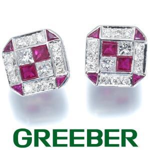 ダイヤ ダイヤモンド ルビー プリンセスカット スクエアデザイン ピアス K18WG GENJ|greeber01