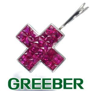 レ・エッセンシャル ペンダントトップ ルビー ミステリーセッティング クロス K18WG BLJ/GENJ|greeber01