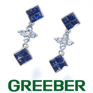 サファイア 0.60ct ダイヤ ダイヤモンド ミステリー フラワー ピアス K18WG/K14WG GENJ greeber01