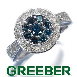 ブルー&クリアダイヤ ダイヤモンド 1ct サークルデザイン リング 指輪 K10WG GENJ|greeber01